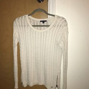White cable knit crew neck sweater